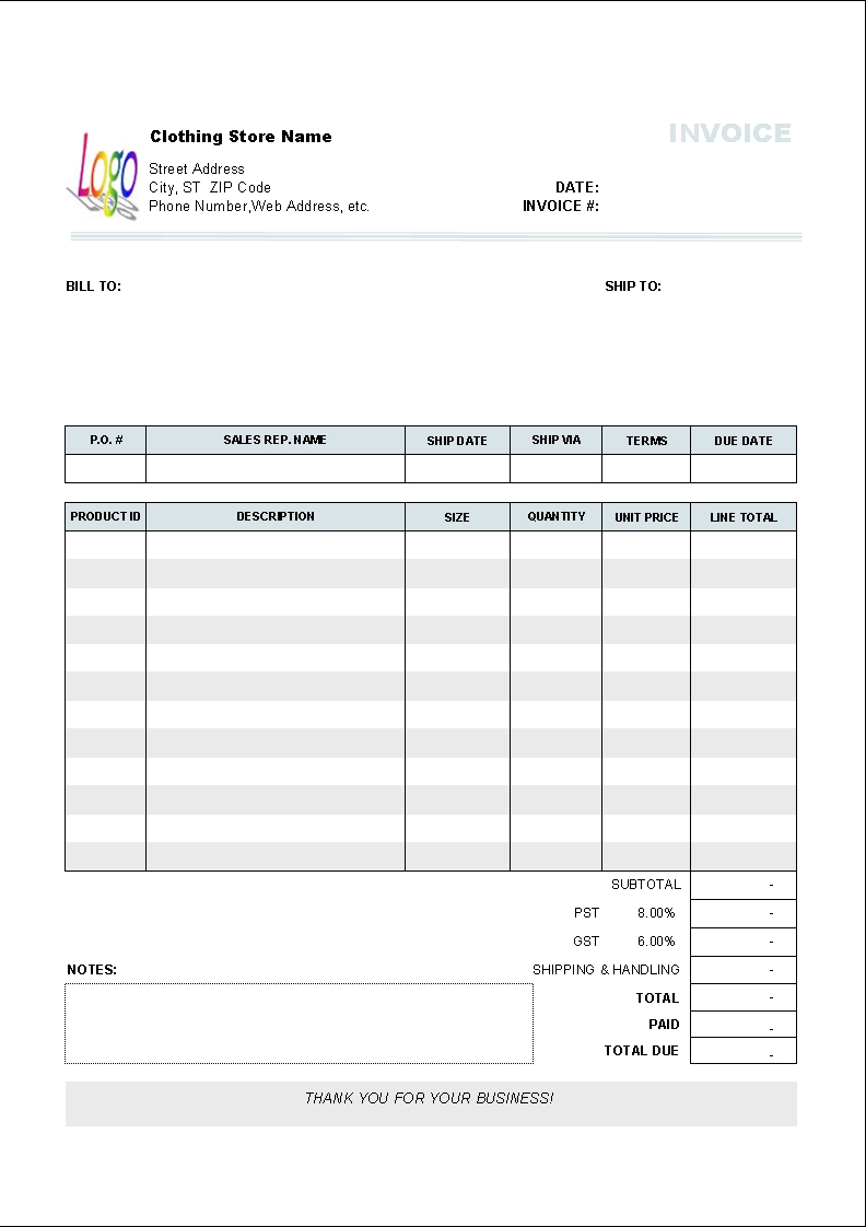 clothing store invoice template uniform invoice software free tax invoice template excel