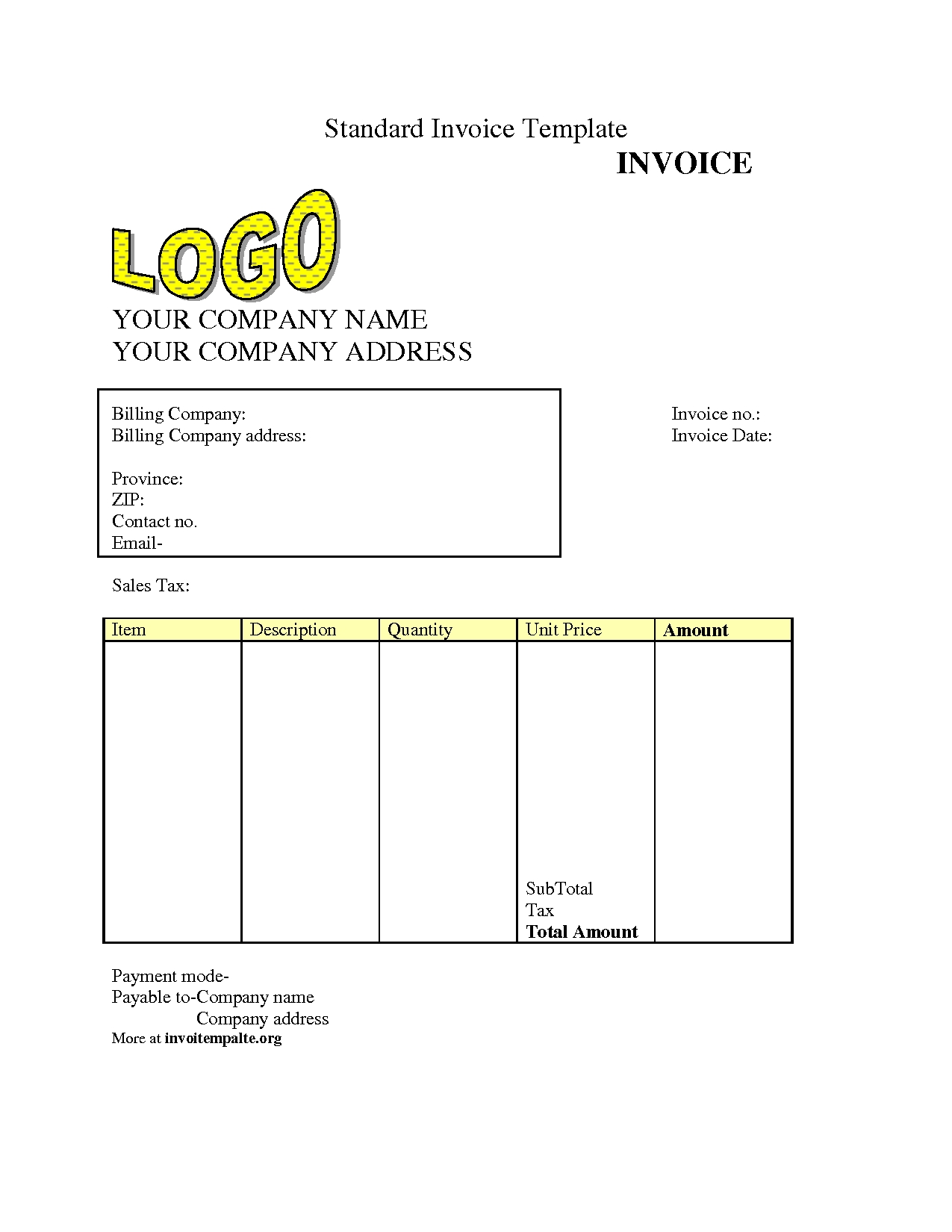 free invoice template downloads free invoice templates best template collection 1275 X 1650