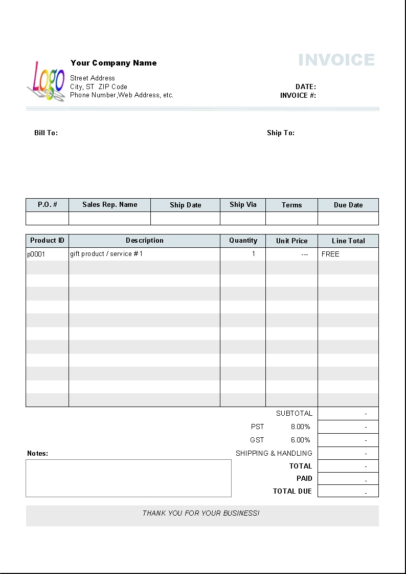 free printable invoice template word