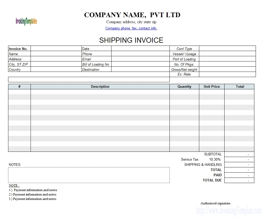 Shipping Invoice Template Invoice Template Ideas – Shipping Invoice Template