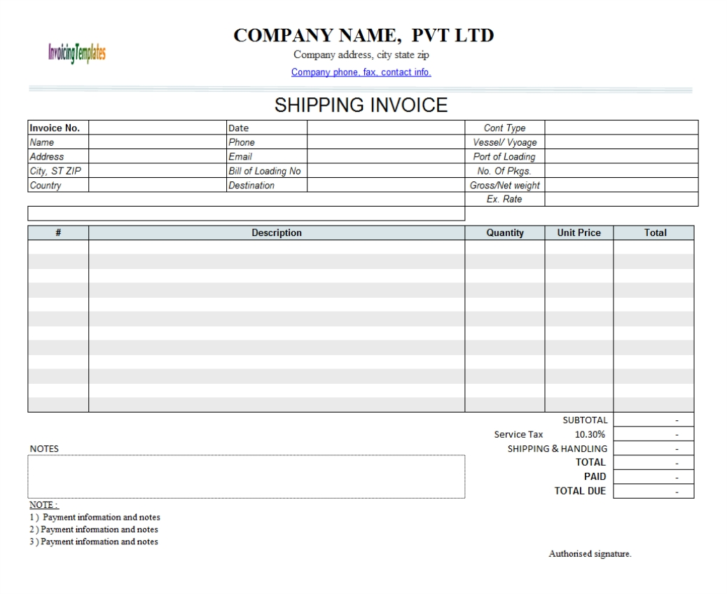 Shipping Invoice Example Invoice Template Ideas - Shipping invoice template
