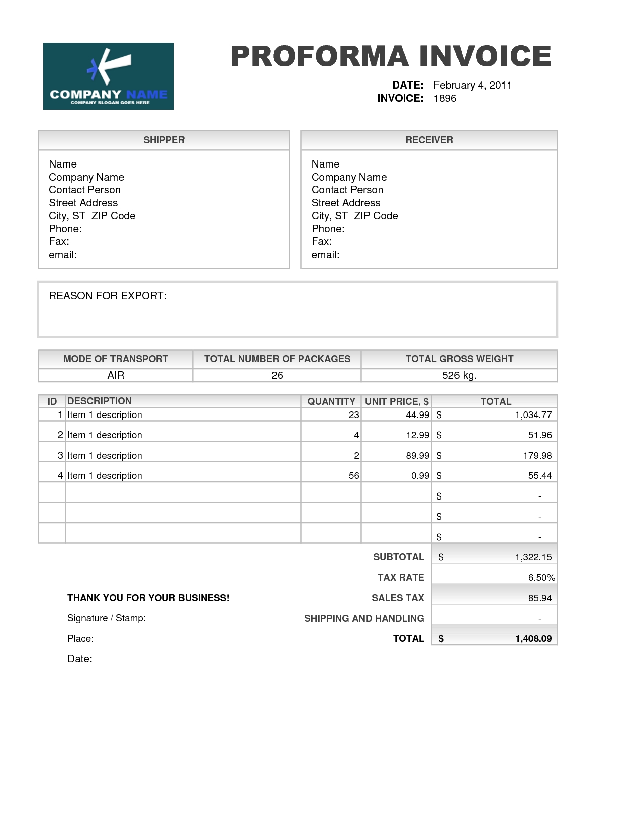 Sample Of Proforma Invoice For Export Invoice Template Ideas