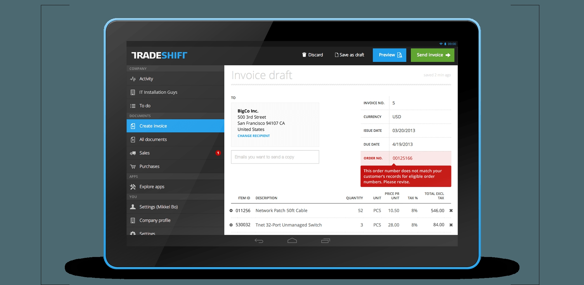 tradeshift free easy electronic invoice management tradeshift electronic invoice software