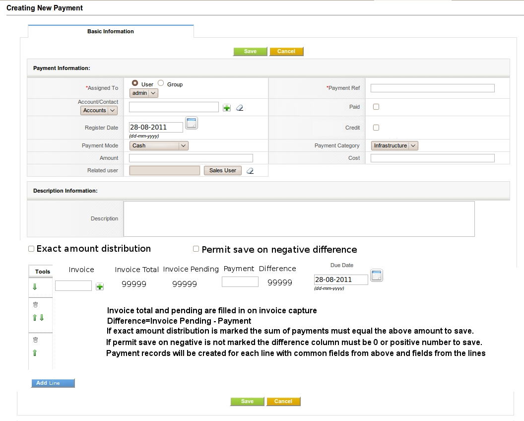 accounting and payment module vtiger spain invoice in spanish