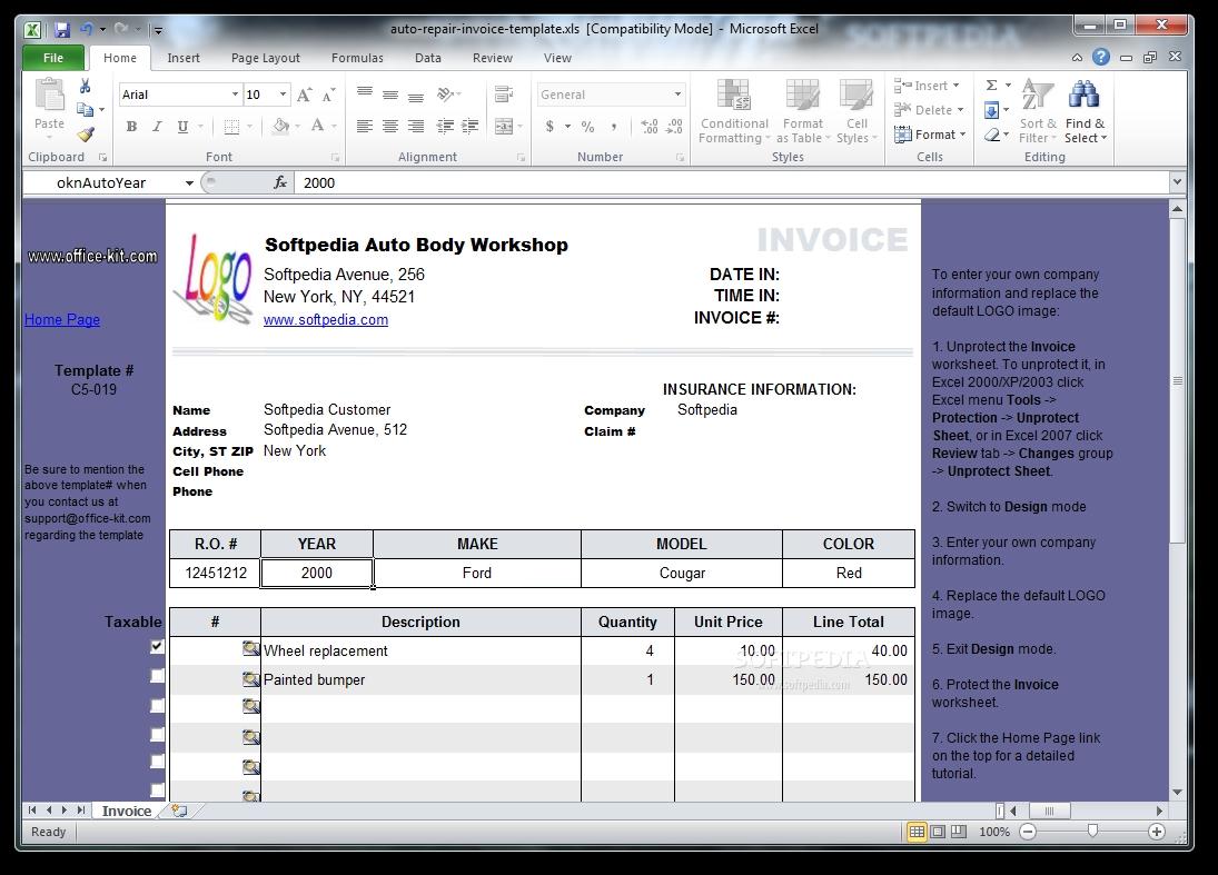auto invoice template auto repair invoice template download 1095 X 787