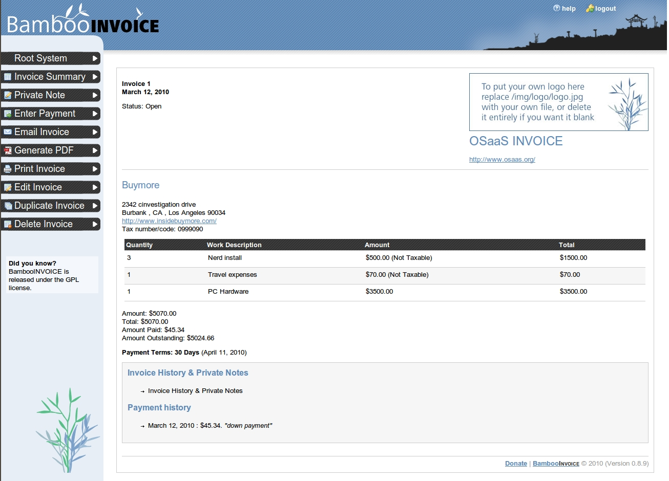bamboo invoice simple amp clean free open source invoicing open source invoice