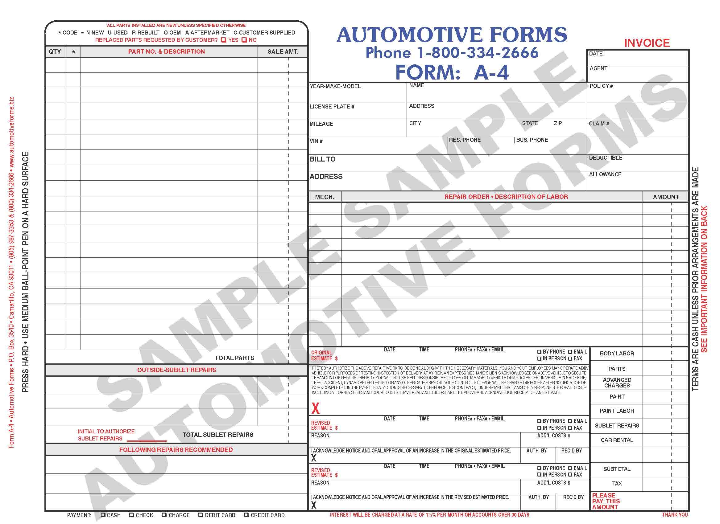 body shop invoice body shop invoice template