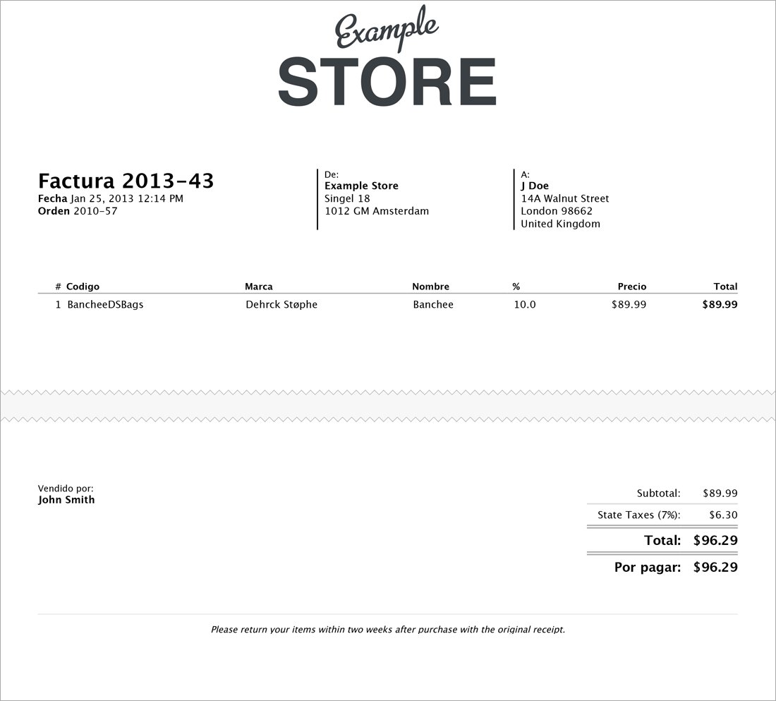 checkout extras invoice in spanish
