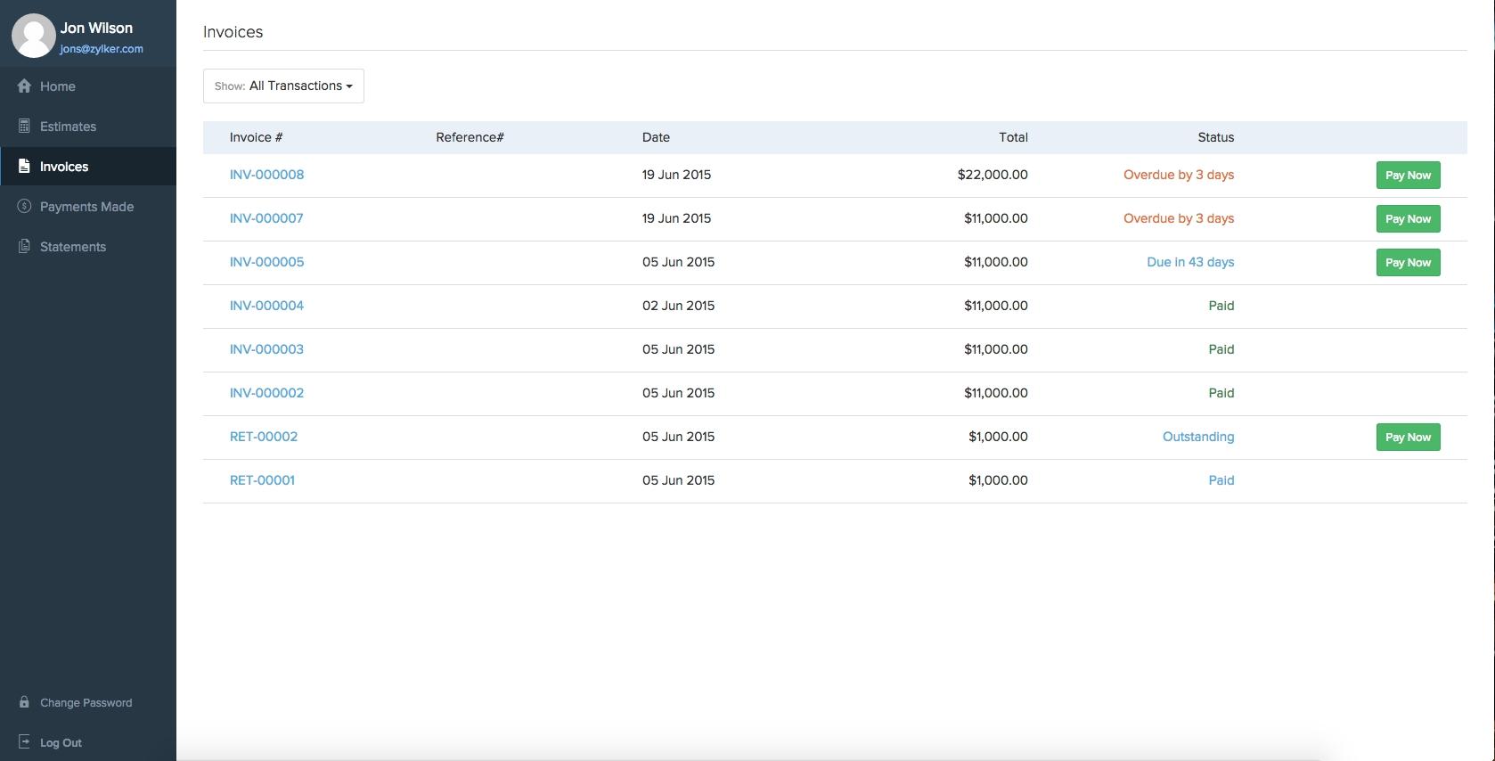 client portalhelp document type of invoice