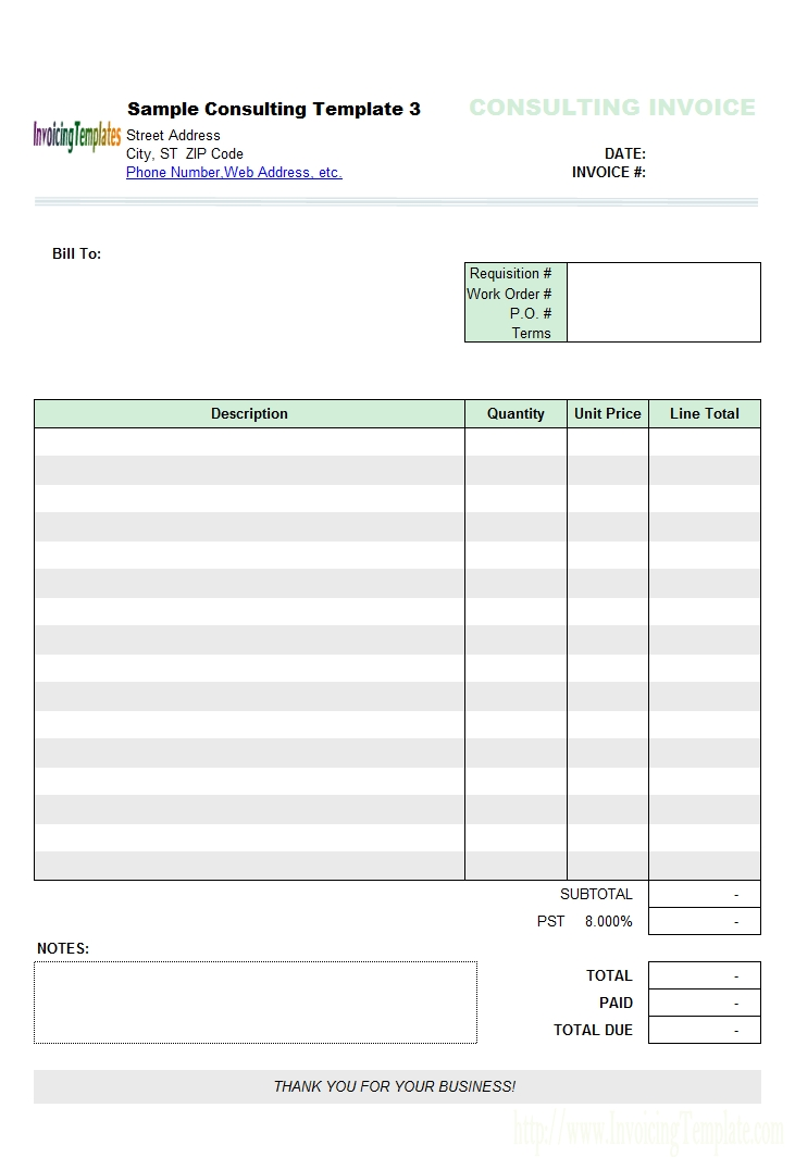 consulting invoice templates tax invoice template free