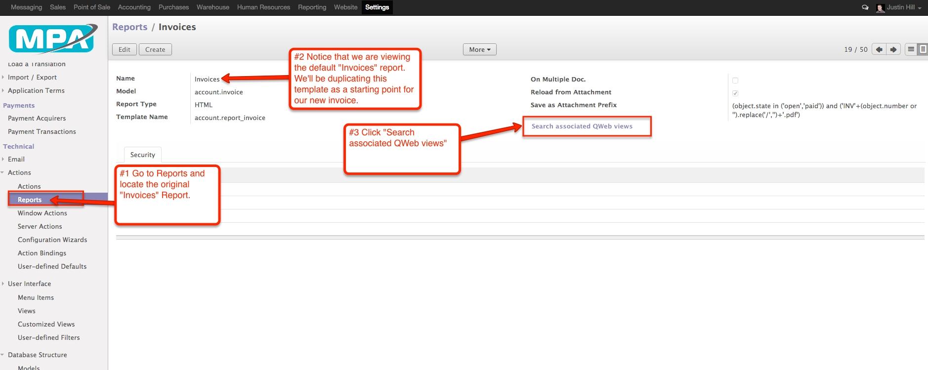 creating multiple invoice templates in odoo v8 mpa create invoice template