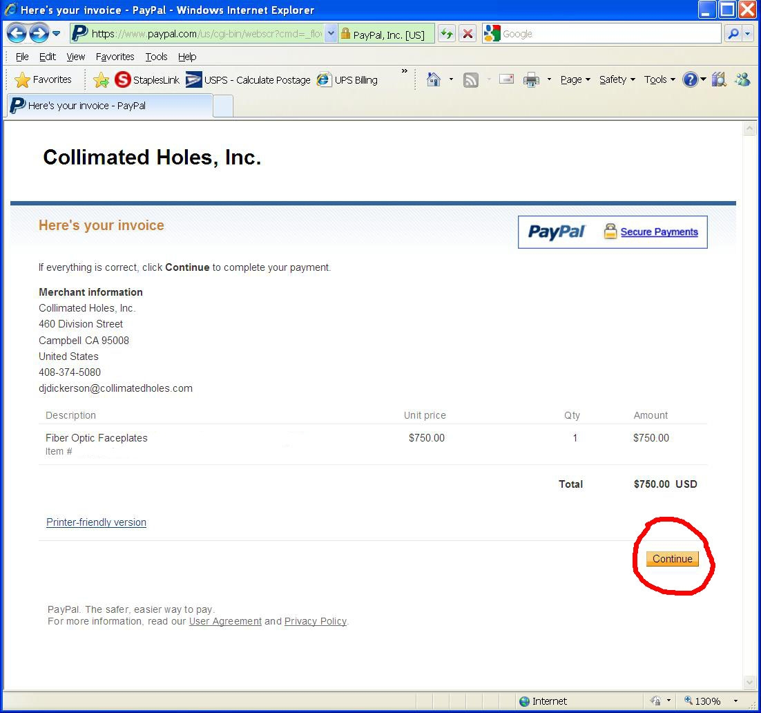 credit card payment instructions using paypal collimated holes inc paypal payment invoice