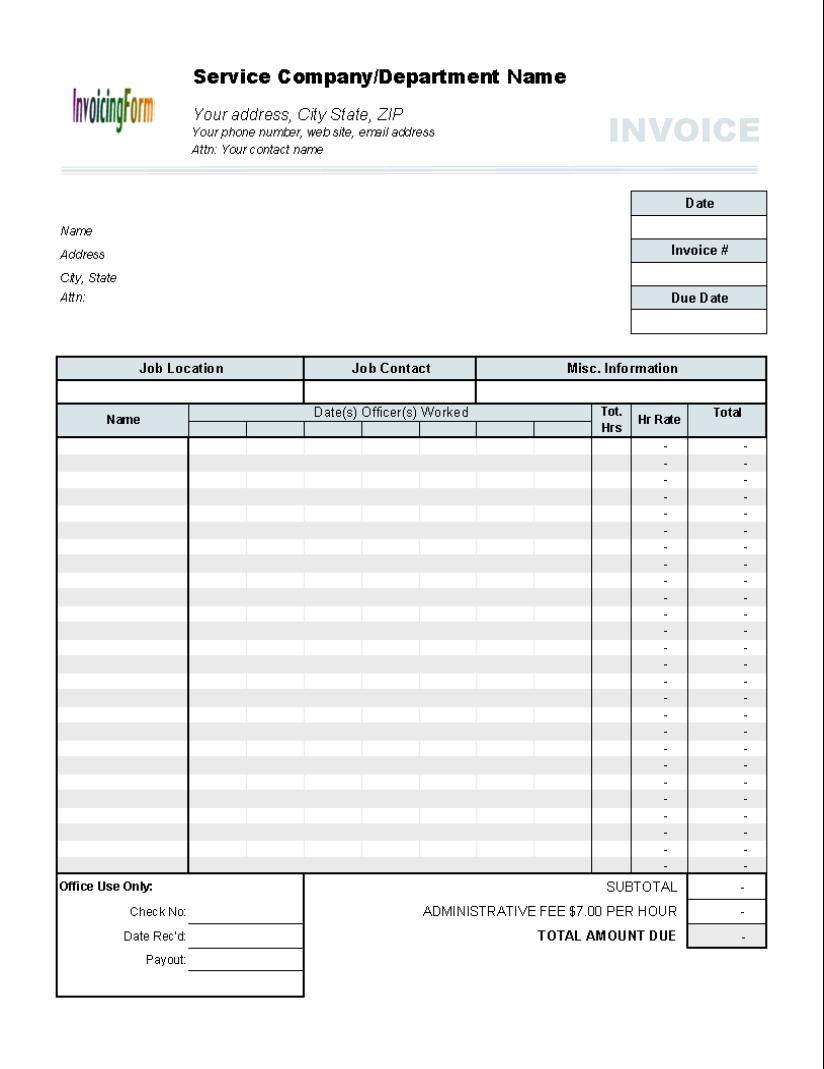 Timesheet Invoice Template