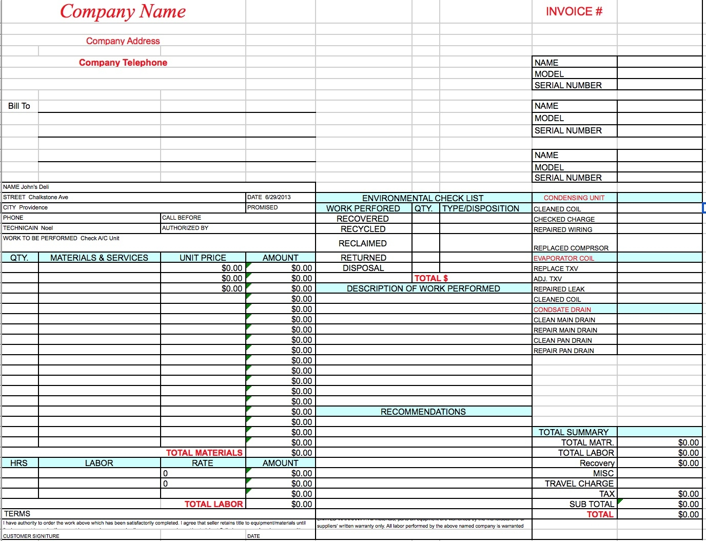 free hvac invoice template excel pdf word doc hvac invoice template