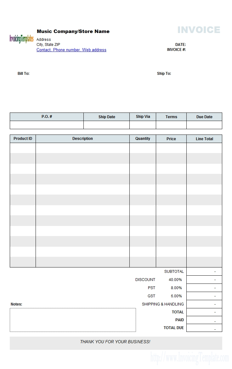 free music store invoice template wholesale wholesale invoice template