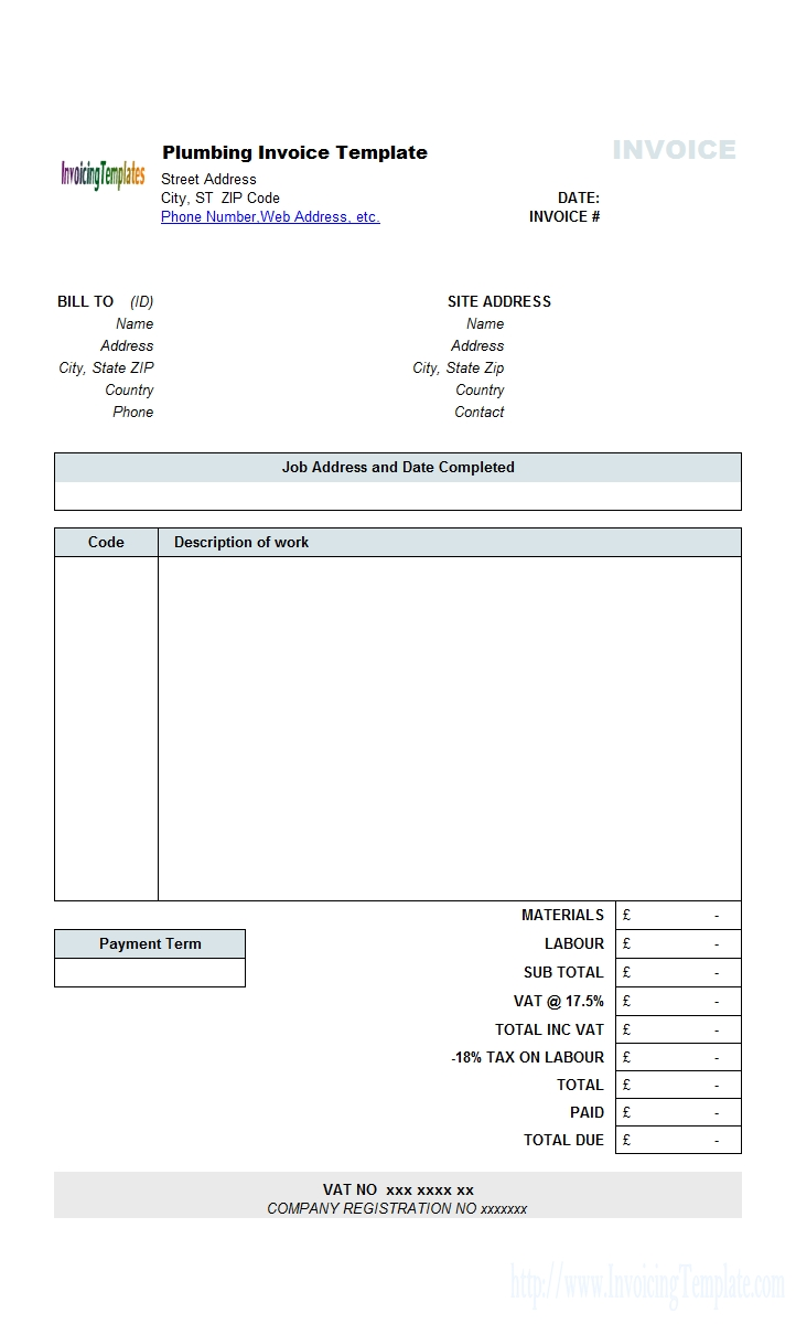 free plumbing contractor invoice template contract work invoice template