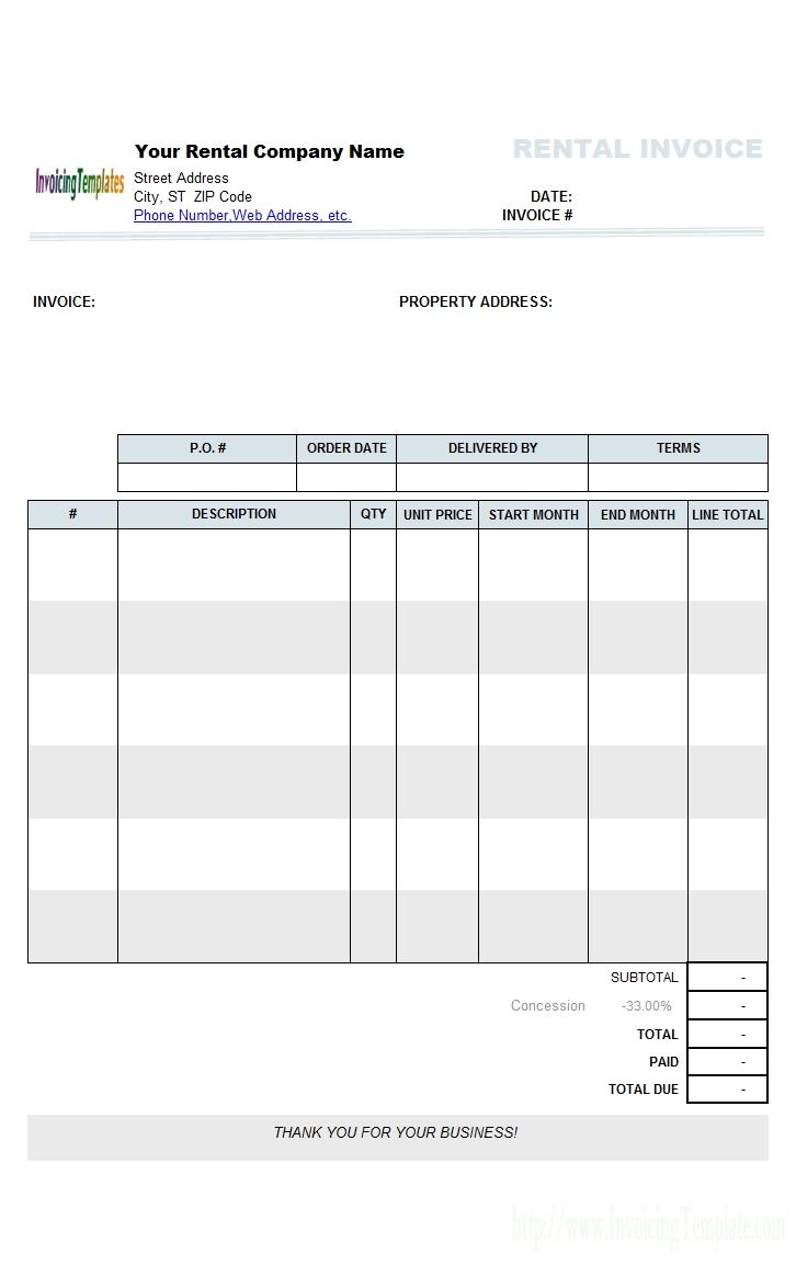 free rental invoicing template specimen of invoice