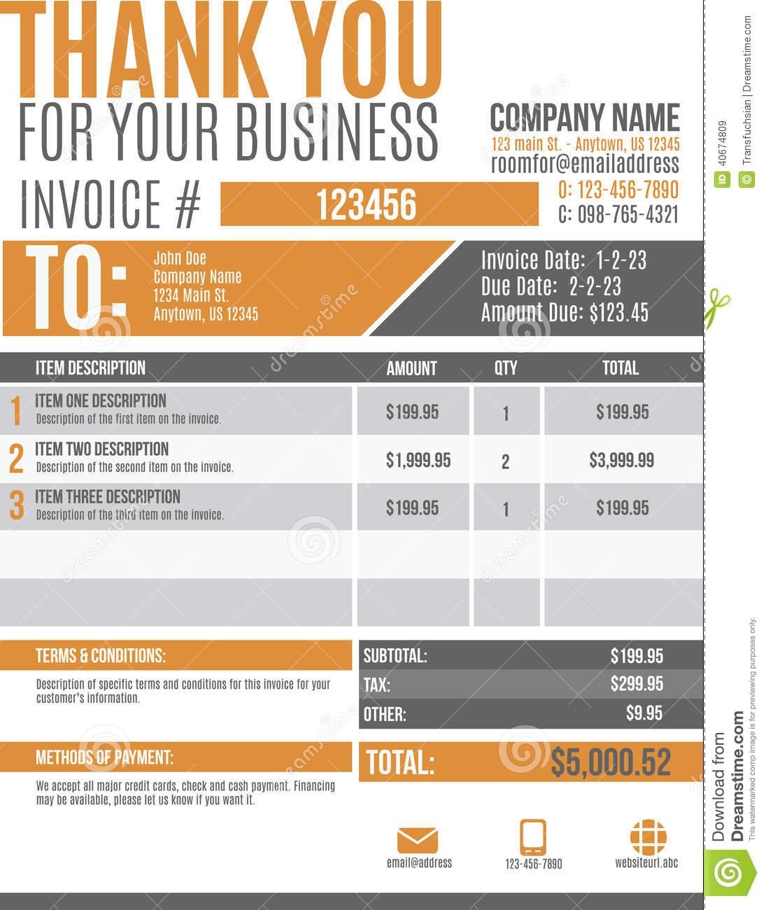 fun invoice template design stock vector image 40674809 modern invoice template