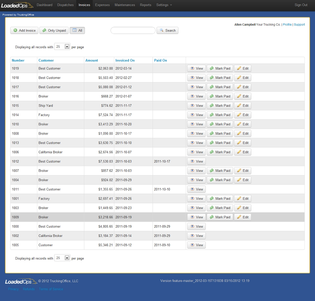 getloadedops tour trucking invoice software