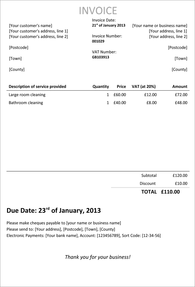 goingfreelance invoice template1 invoices for self employed