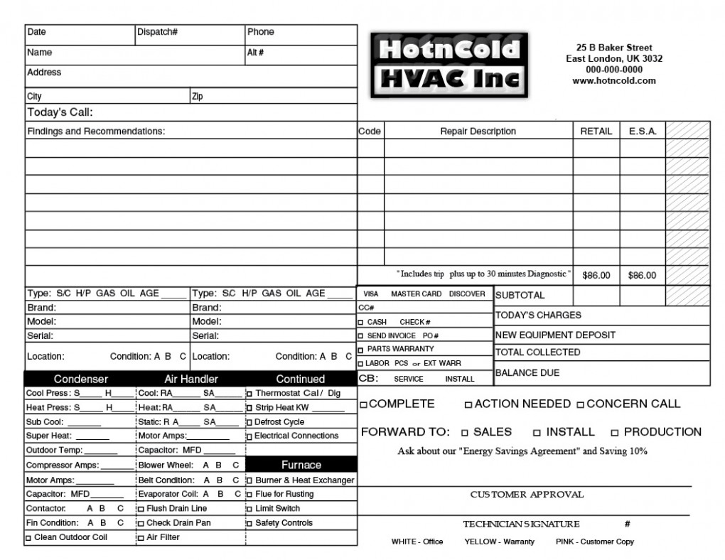 hvac service invoices