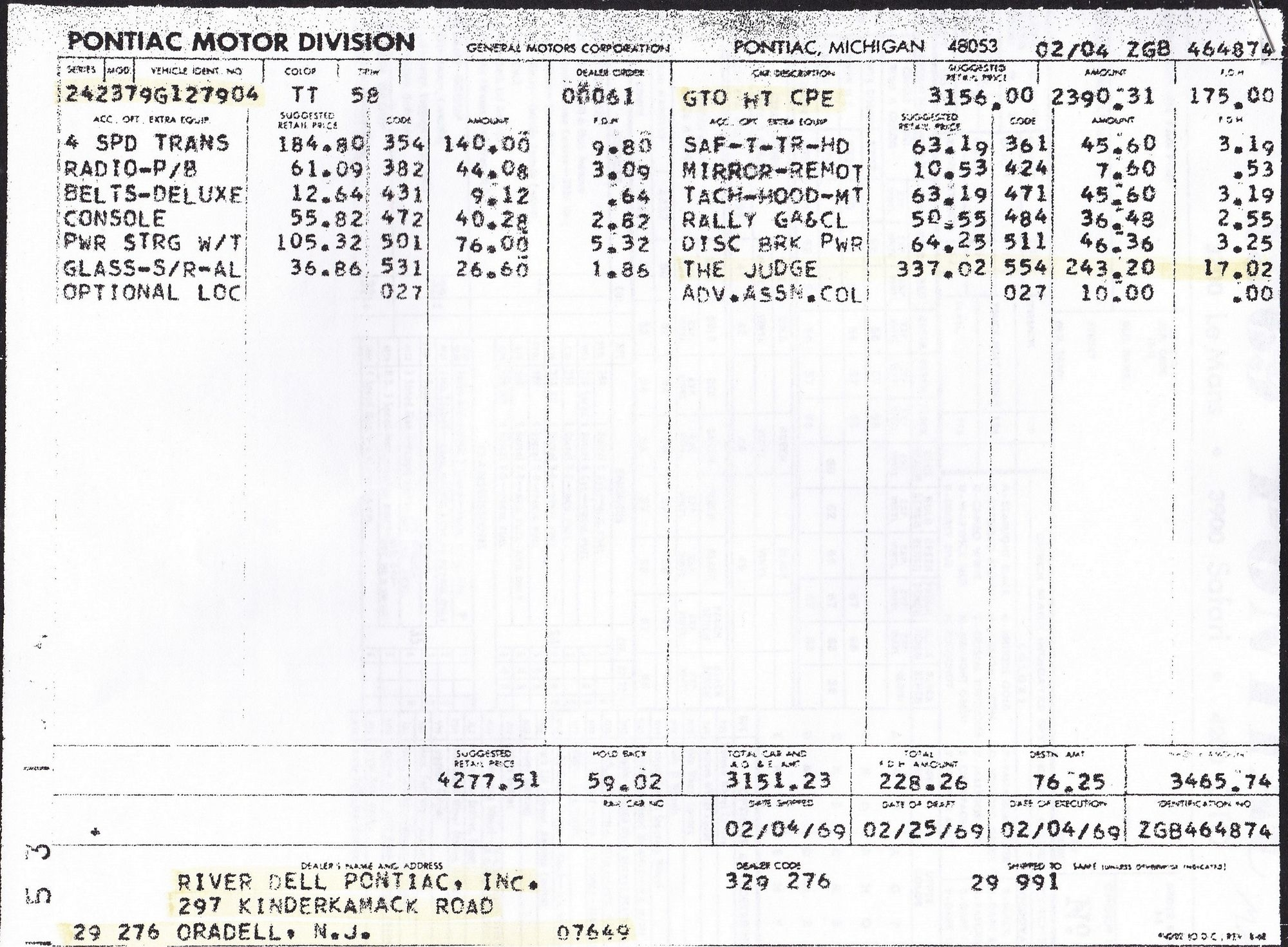 i just found my 1969 gto judge 23 years after i sold it hemmings dealer invoice price by vin