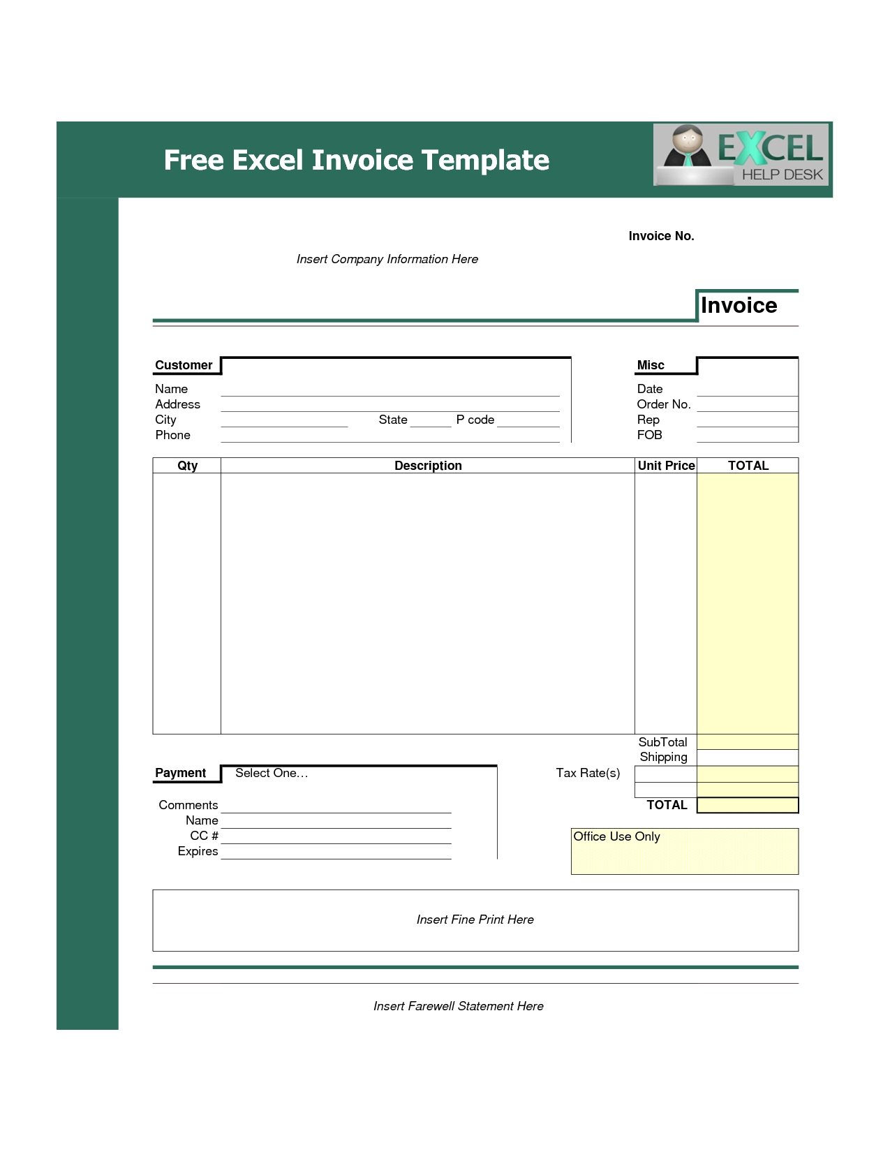 invoice excel template free download excel invoice template best template collection 1275 X 1650