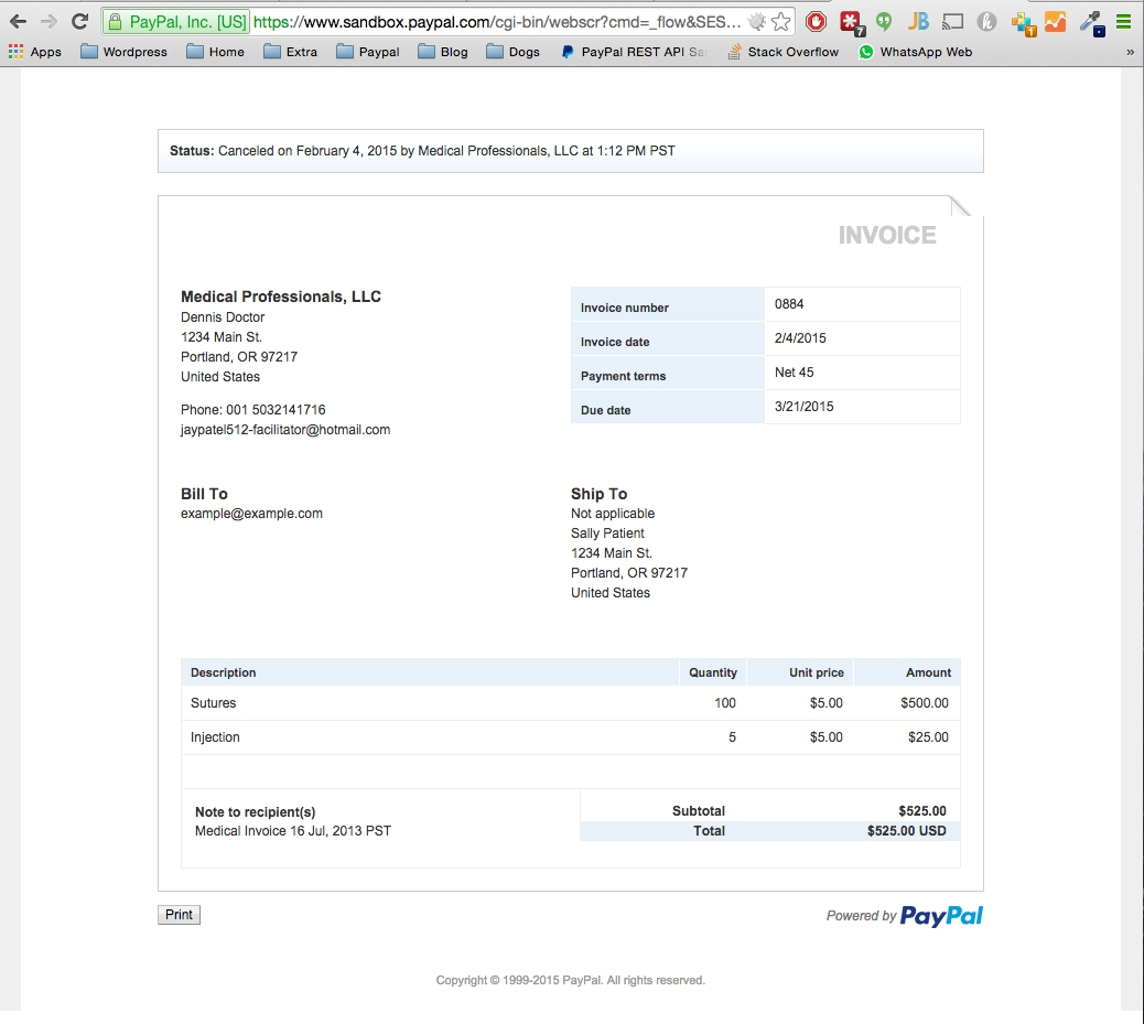 invoice for paypal paypal php sdk cancel invoice function does nothing stack overflow 1038 X 929