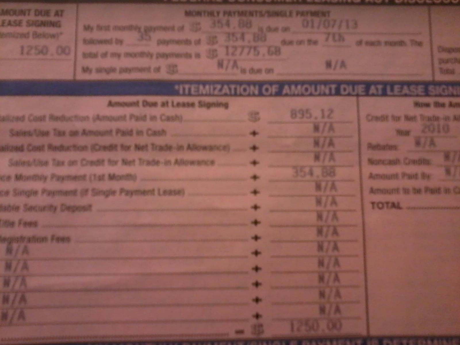 Honda Odyssey Invoice