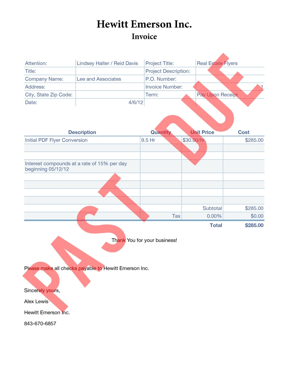 Past Due Invoice Invoice Template Ideas