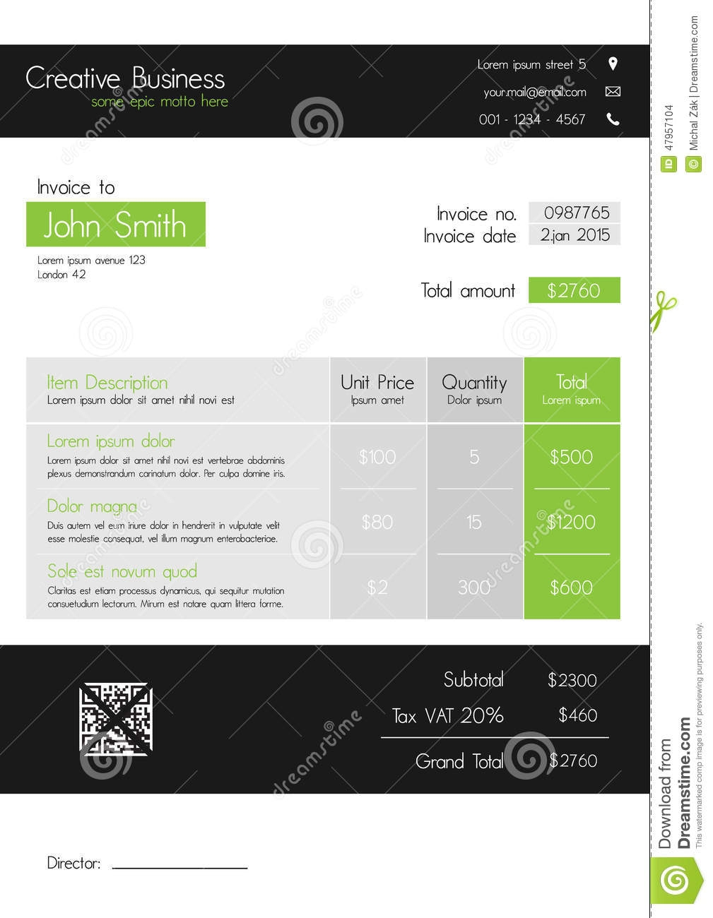 invoice template clean modern style of green and grey stock modern invoice template