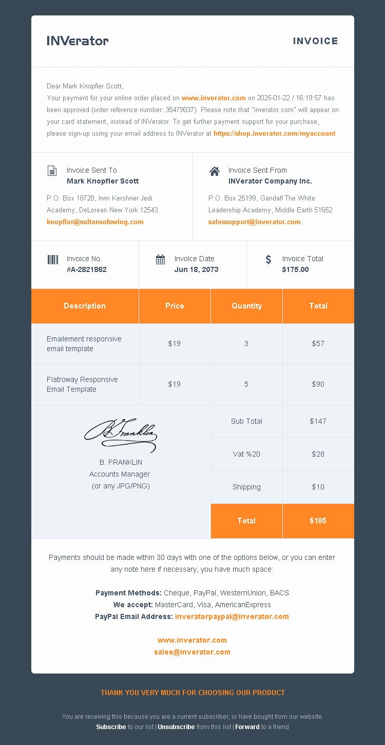 invoice template payment receipt email builder marketing email invoice template