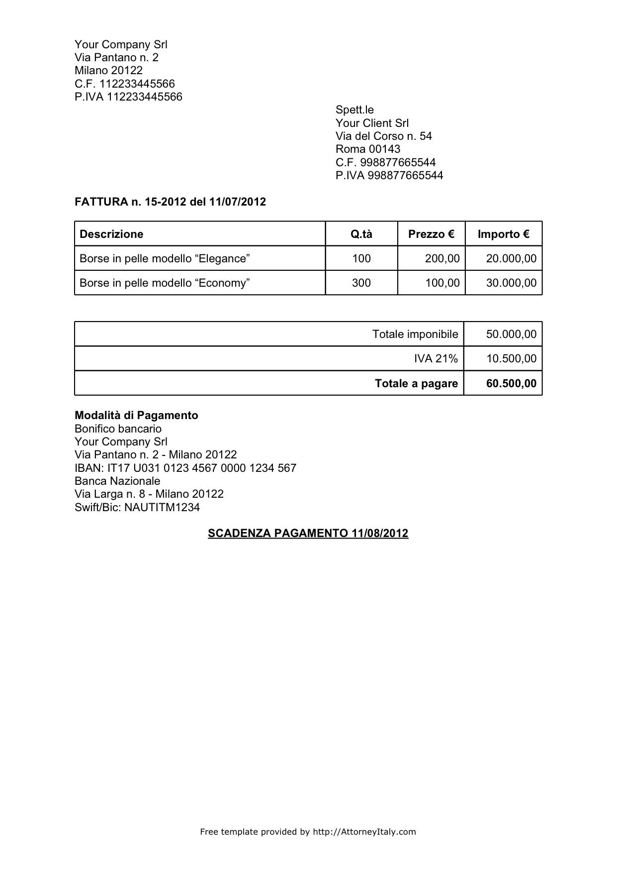 italian invoice template non vat invoice template