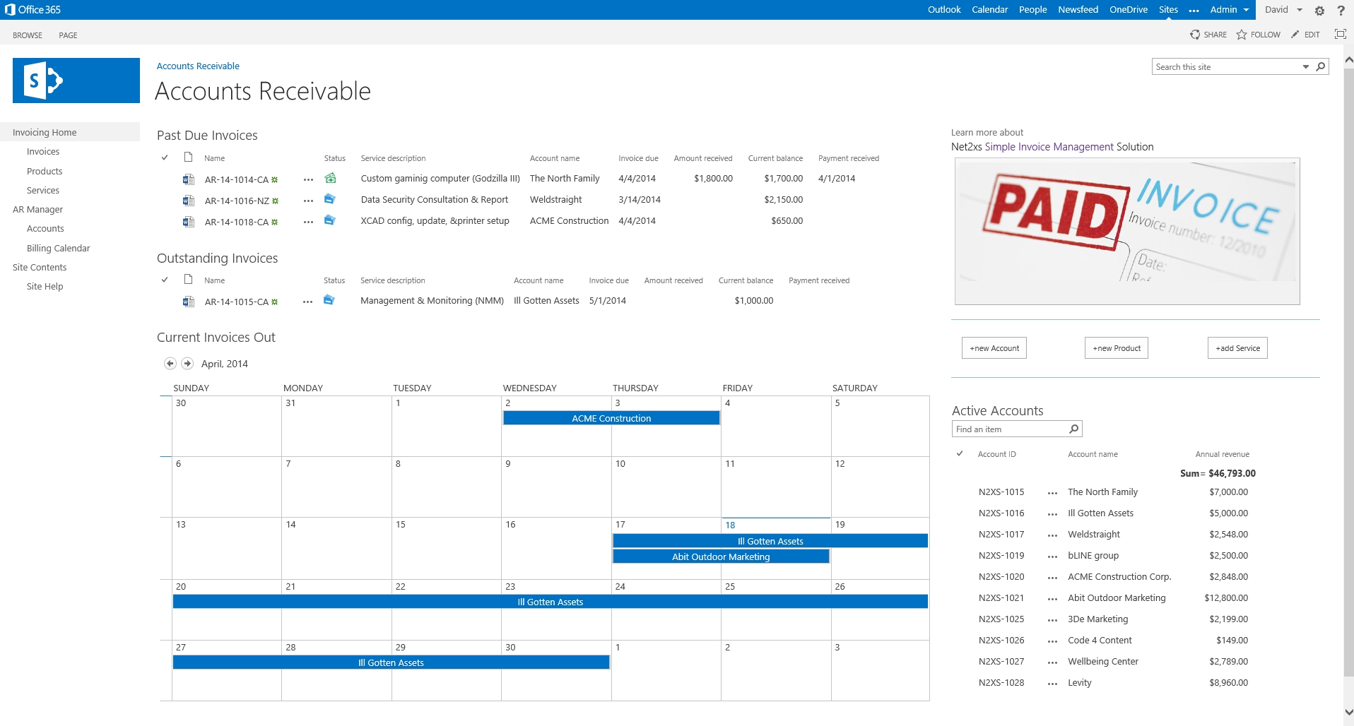o365 simple invoice management parts of an invoice