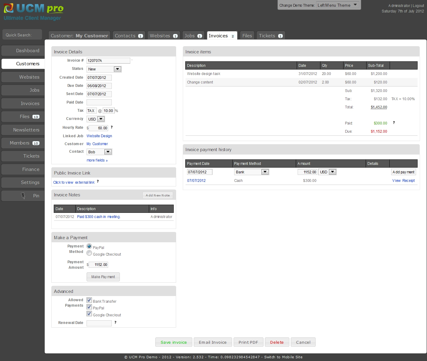 open source invoice php ultimate client manager crm pro edition php scripts 1406 X 1189