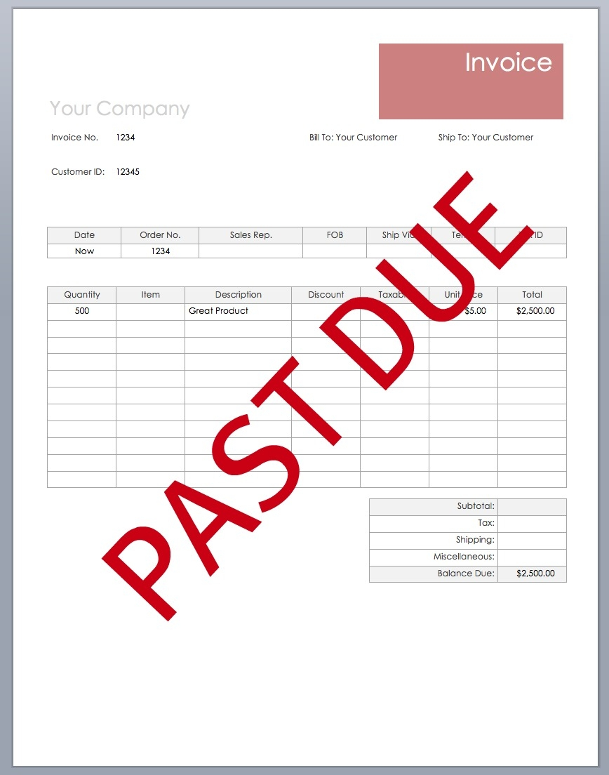 overdue invoice notice formal collection letter example 868 X 1104