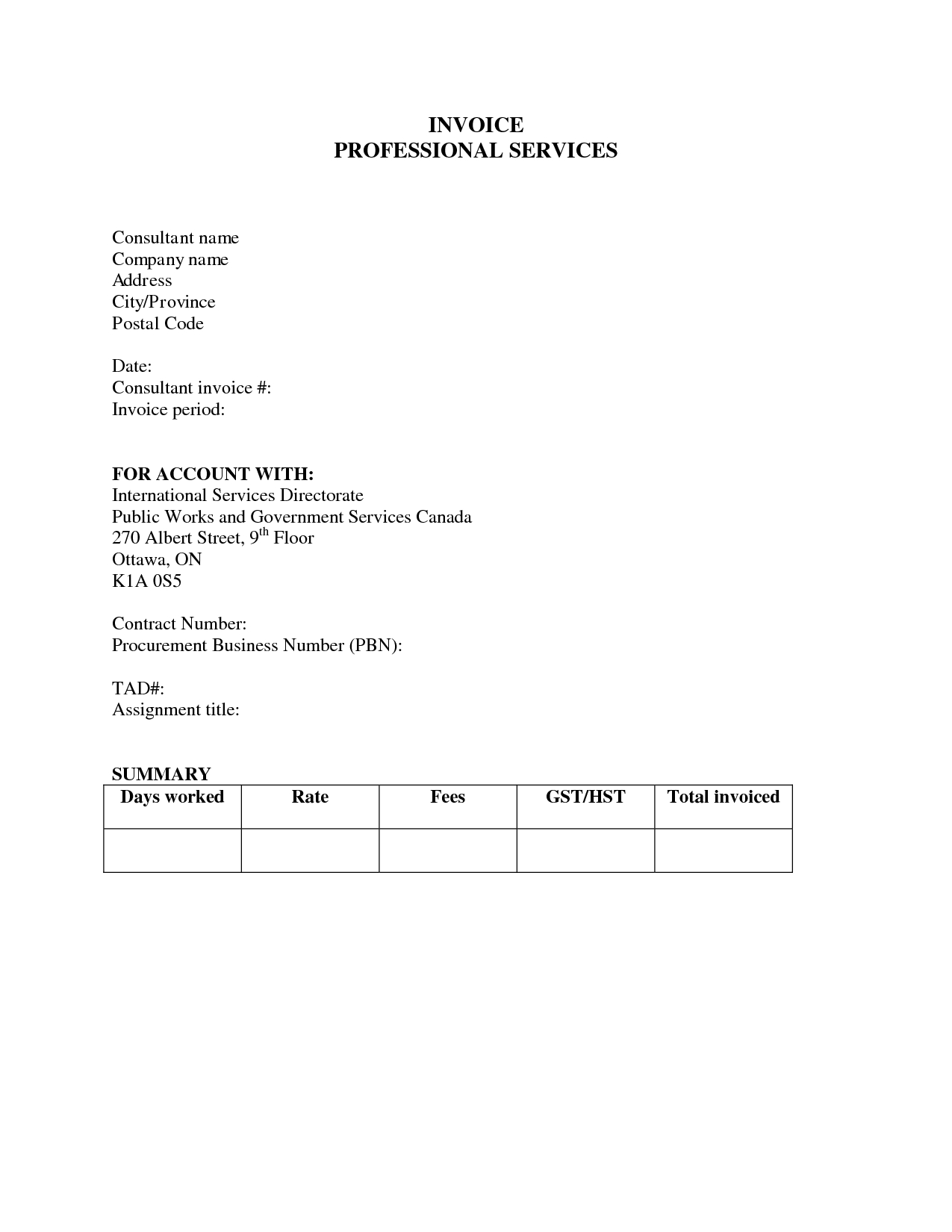 Professional Fees Bill Format Pasoevolistco - Consulting invoice template word for service business