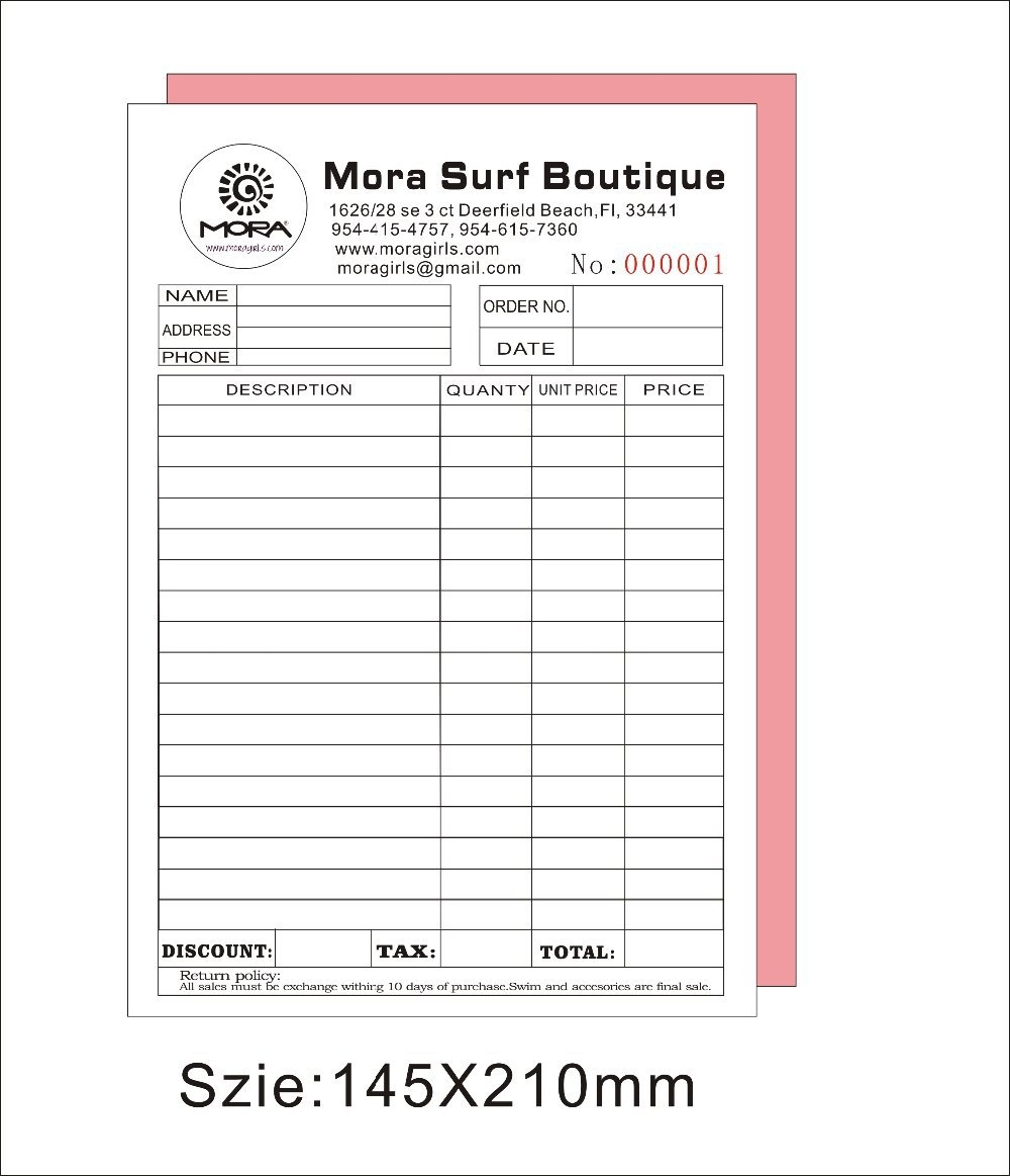 Custom Printed Invoice Books