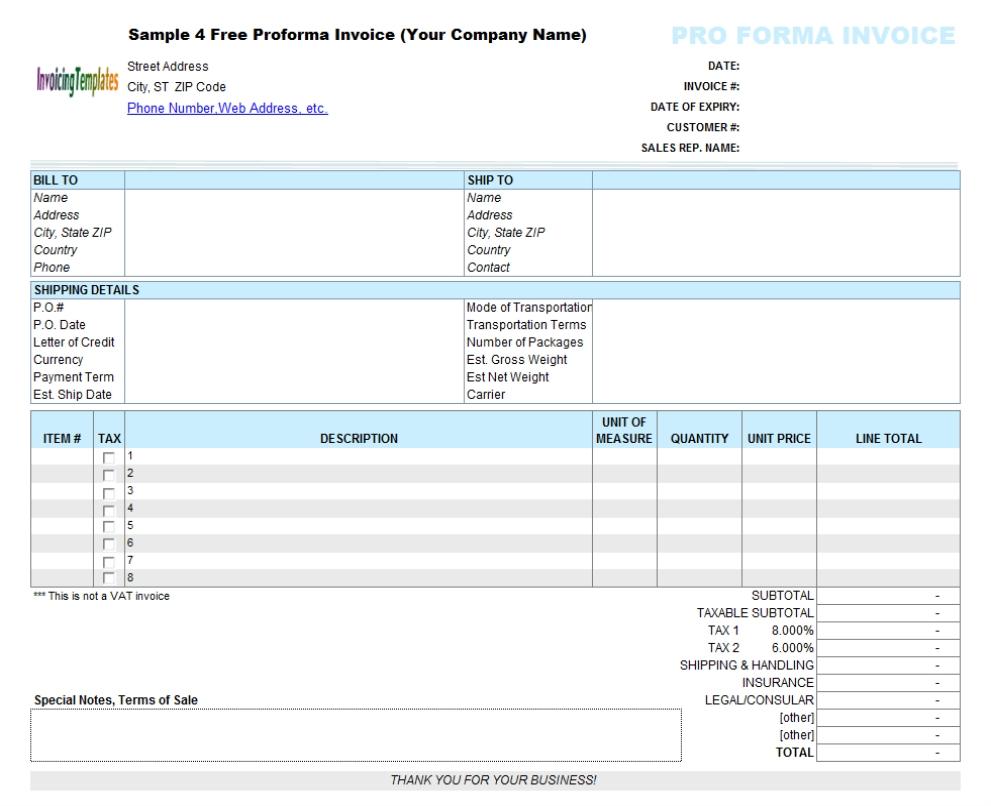 proforma invoice xls proforma invoice template excel free 8 results found uniform 991 X 806