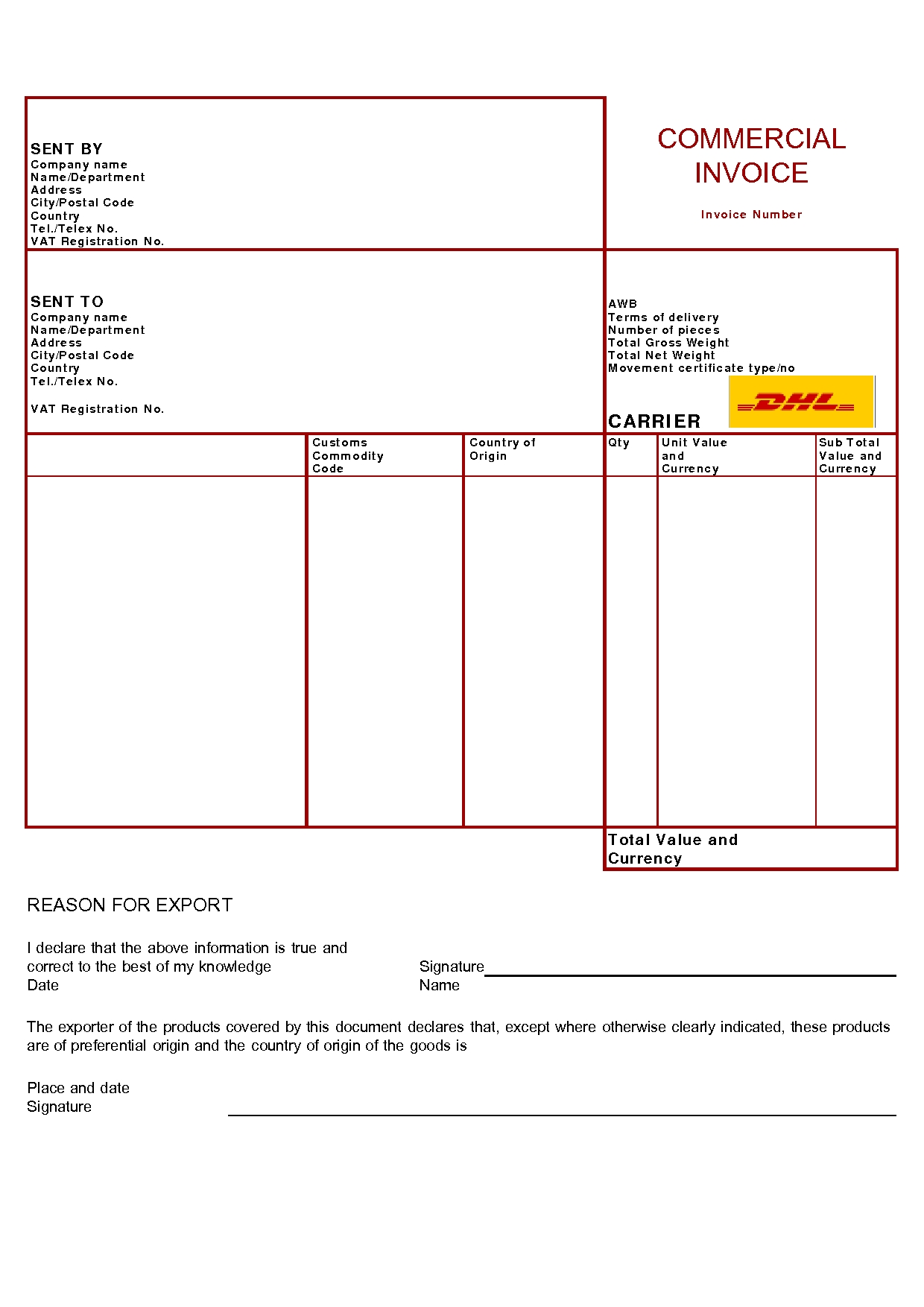 real estate business products dhl proforma invoice template