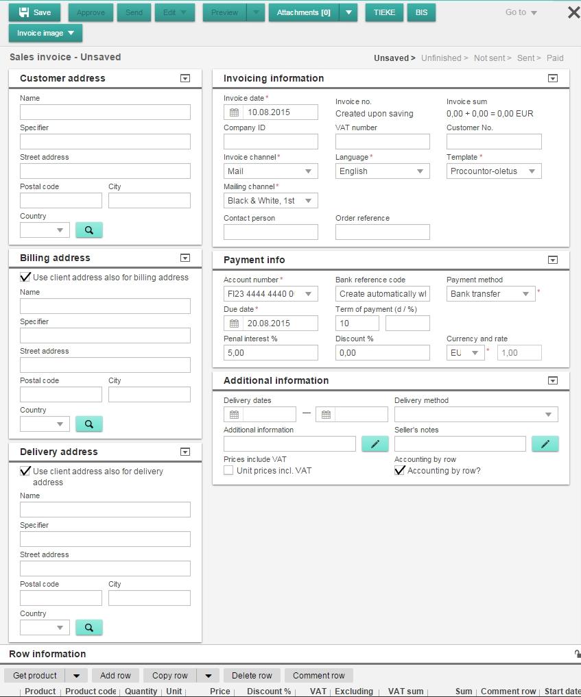 sales invoice details credit sales invoice