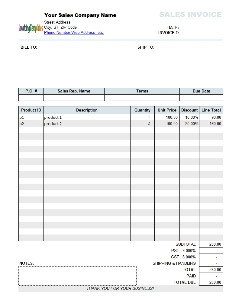 sales invoice template with discount per freeware version 110 sales invoice format in excel