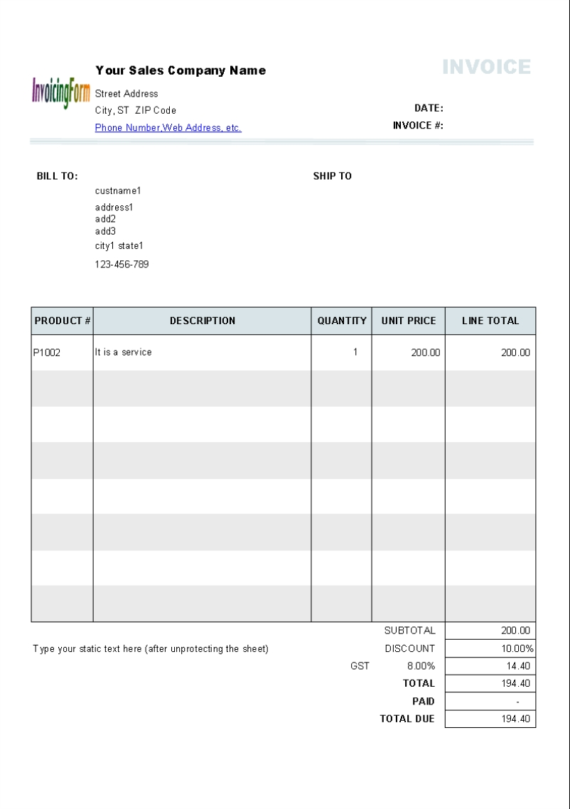 Sales Invoice Format In Excel