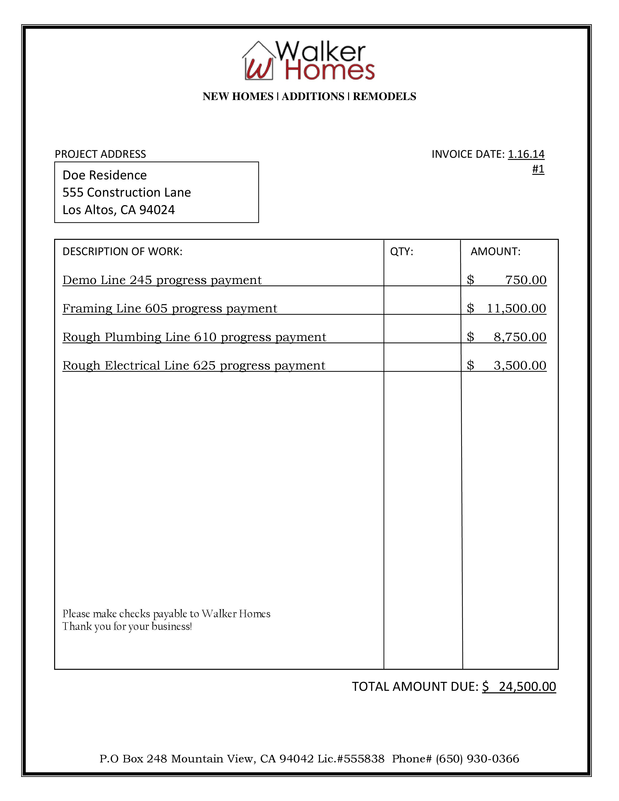 sample bid amp billing walker homes construction invoice samples