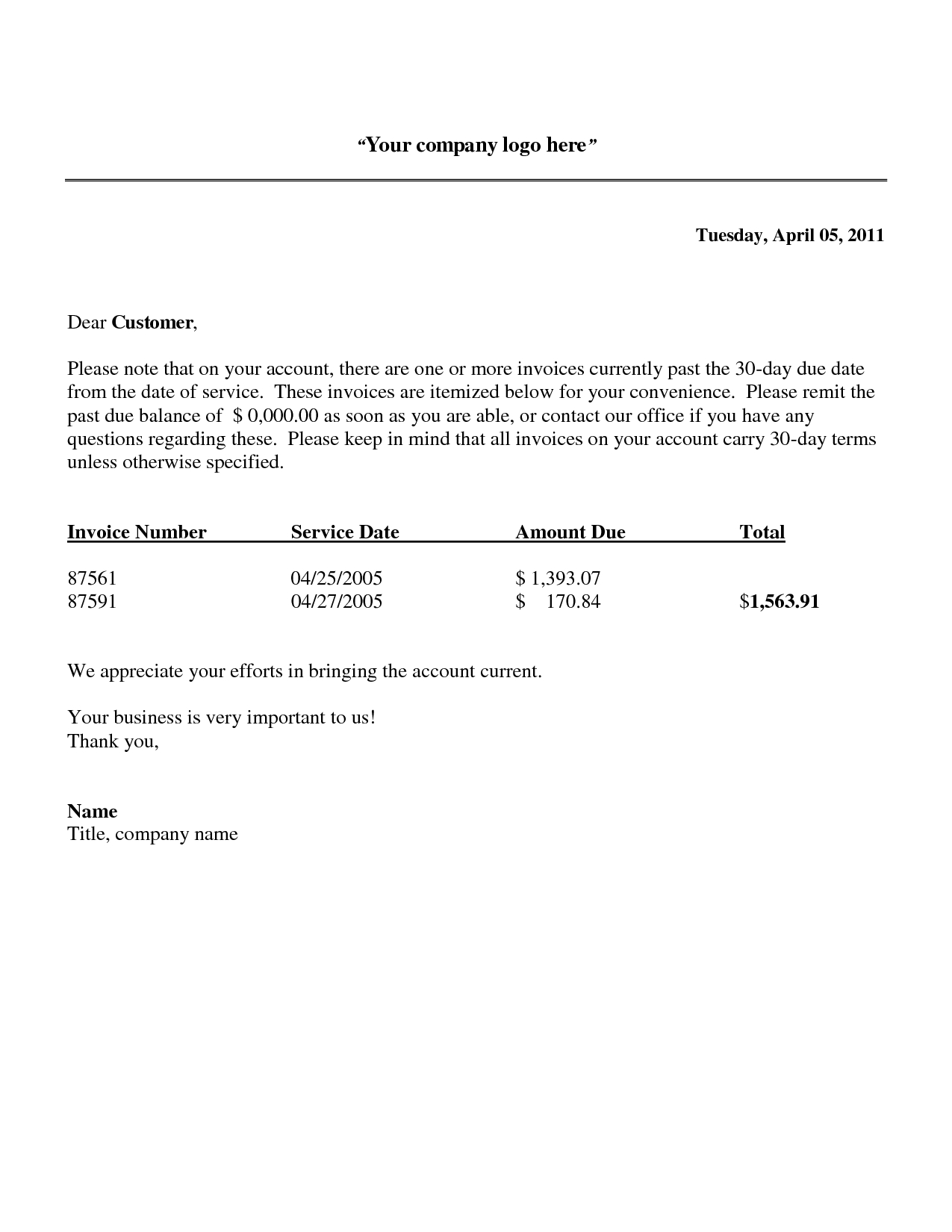 sample polite reminder letter that money is due past due invoice