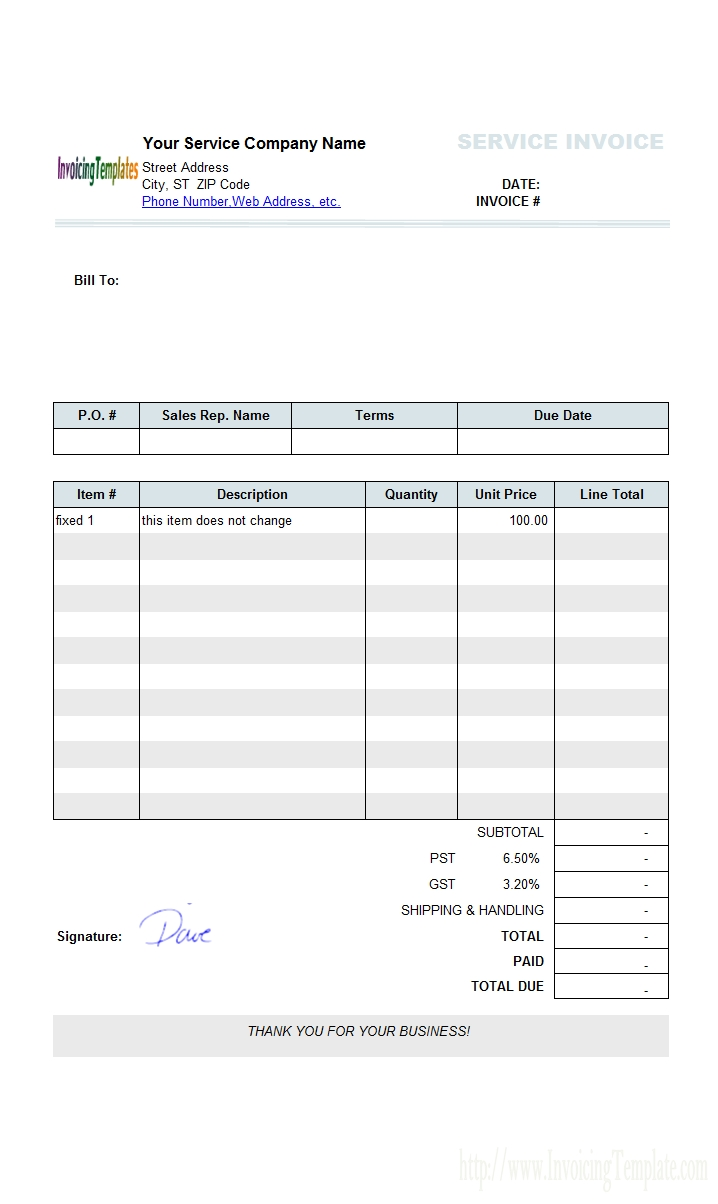 sample service template fixed items printed invoice template word document