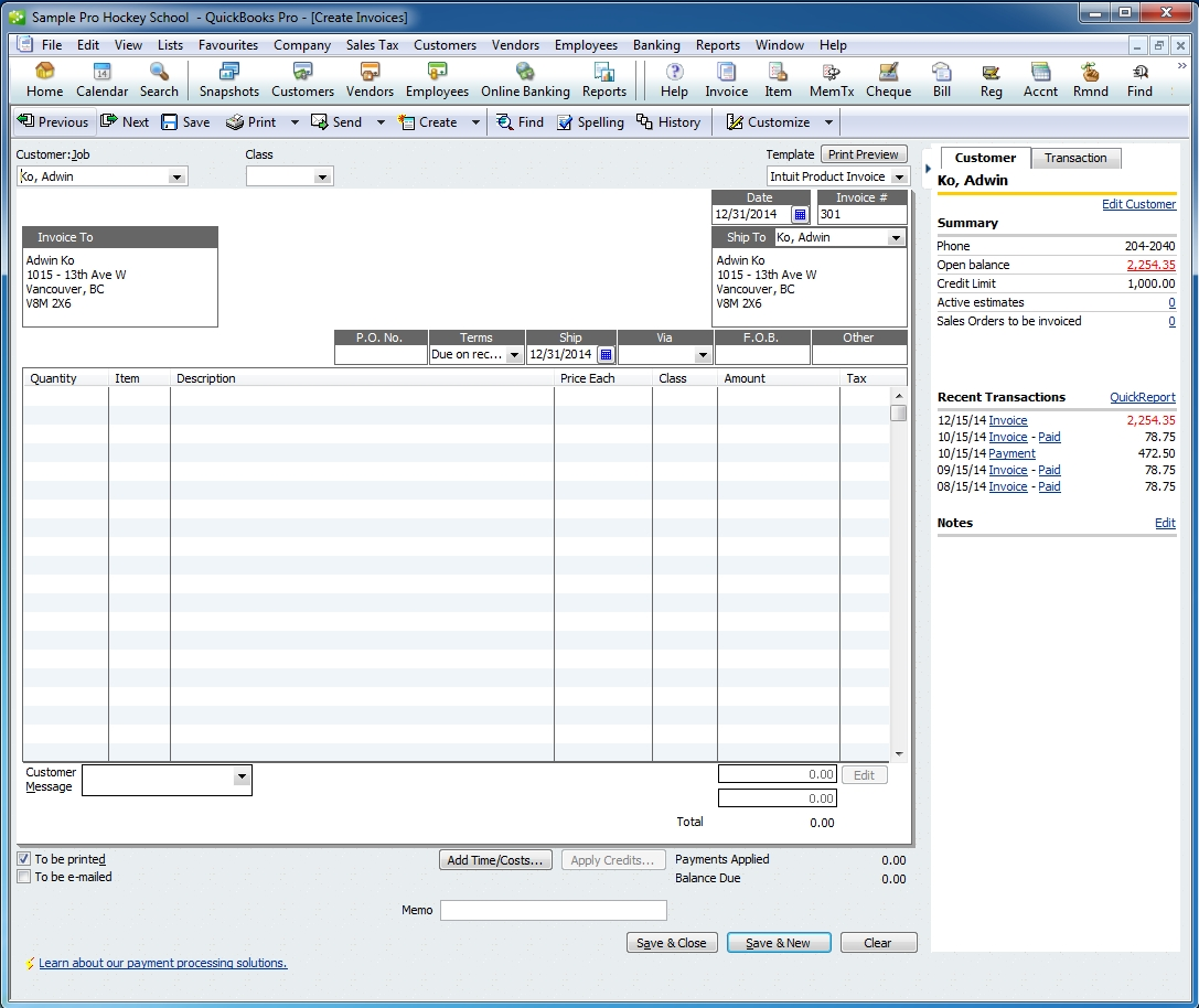 Quickbooks Create Invoice