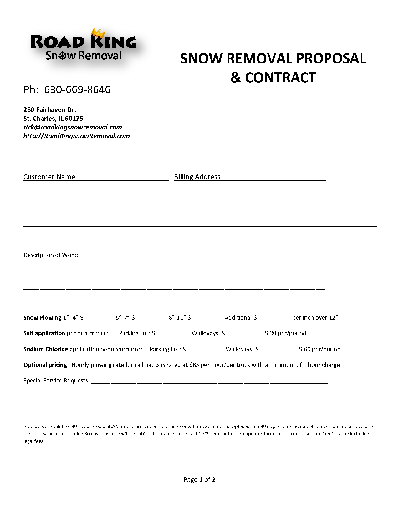 Snow removal invoice template invoice template ideas for Residential snow removal contract template