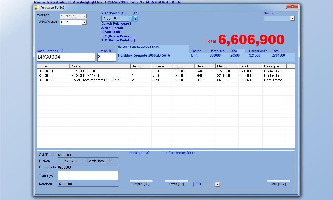 software invoice gratis software toko komputer diskon unik tiap pelanggan toko 1e 1280 X 768