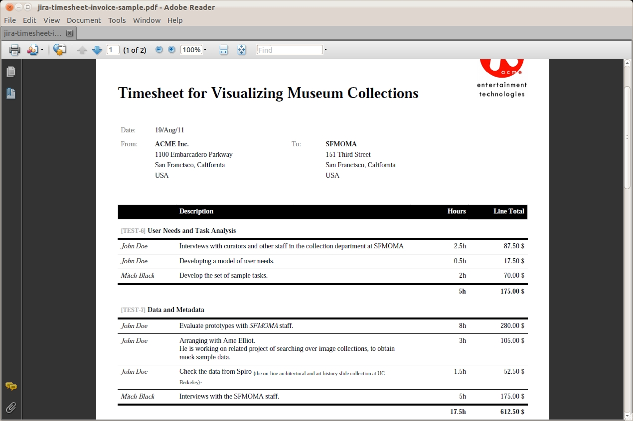 tempoplugin customers and invoicing atlassian answers timesheet invoice template